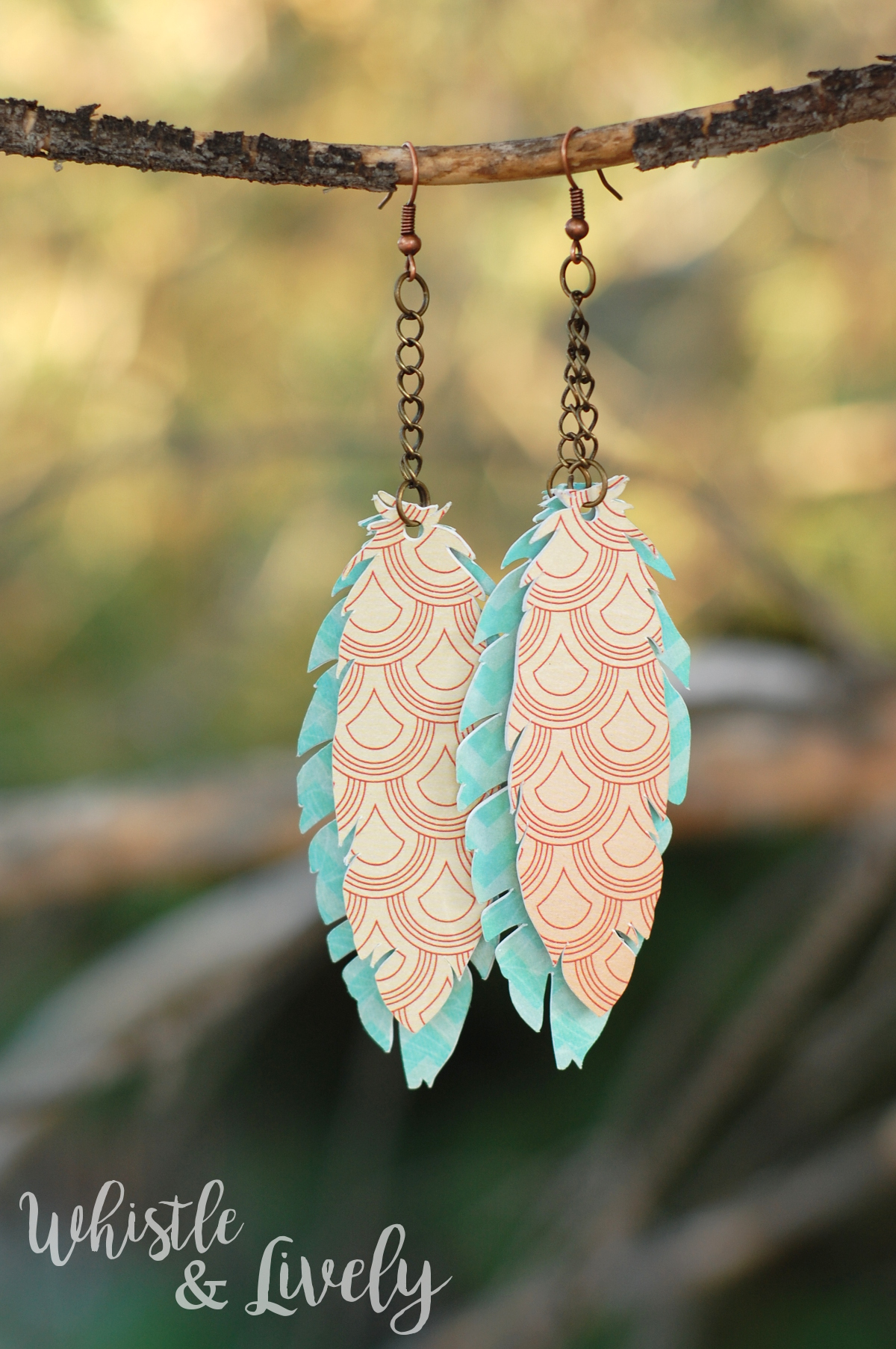 Paper Feather Earrings - Make these pretty earrings with paper and findings! Make a pair in each color, they are quick and easy!