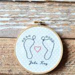 Newborn Footprint Embroidery Keepsake