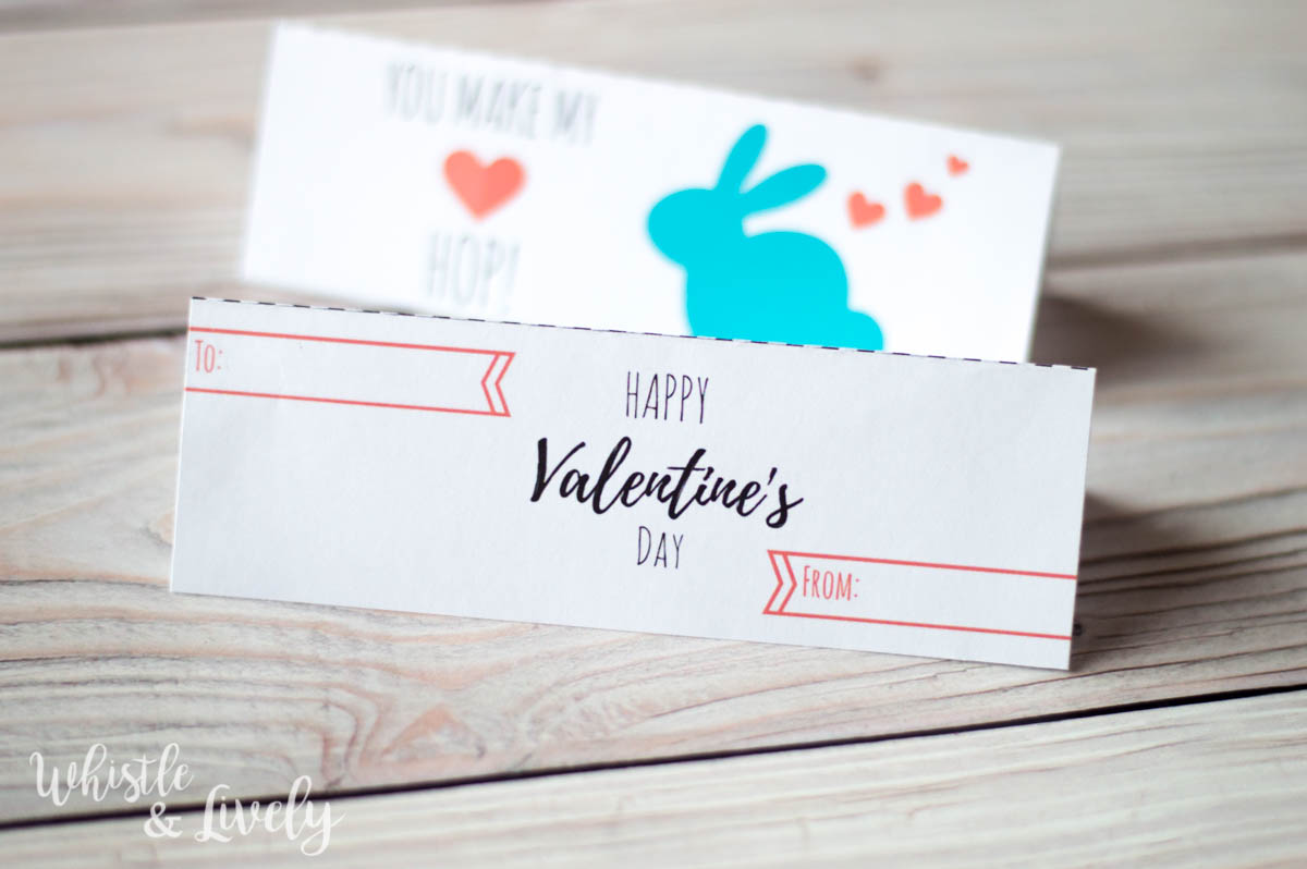FREE Printable - Make these easy and adorable bunny valentines with this cute printable! Just print, cut and staple to a snack bag of bunny crackers!
